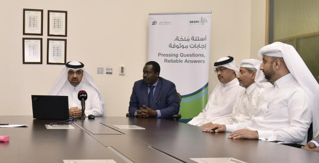 A press conference at QU to announce survey on the 24th Arabian Gulf Cup conducted by the university's SESRI center